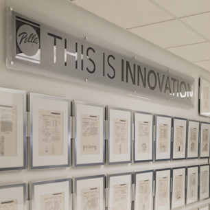 patent and innovation wall at pella headquarters