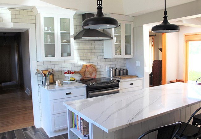 the gingham apron kitchen - white marble countertops