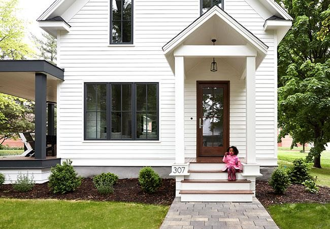 door styles small girl sitting on front steps
