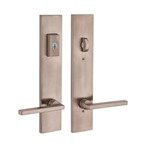 Multipoint lock handle with satin nickel finish