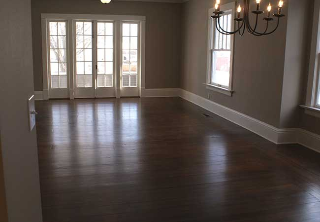 Original Hardwood floors were refinished and repaired to maintain the character of the home.