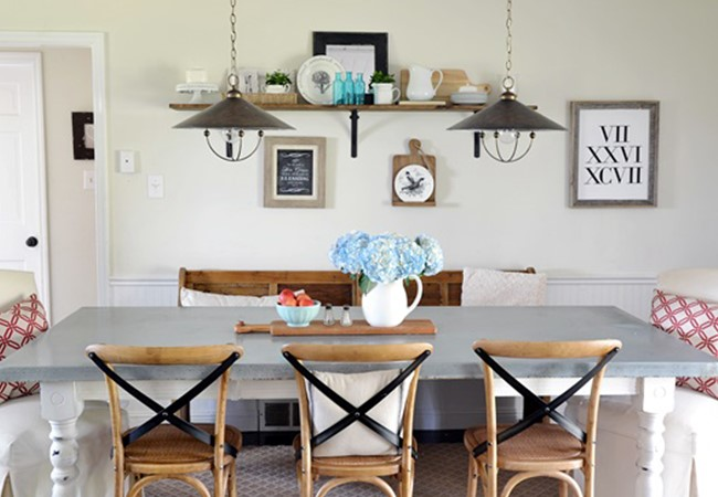 Farmhouse dining room decor by blogger Beneath My Heart