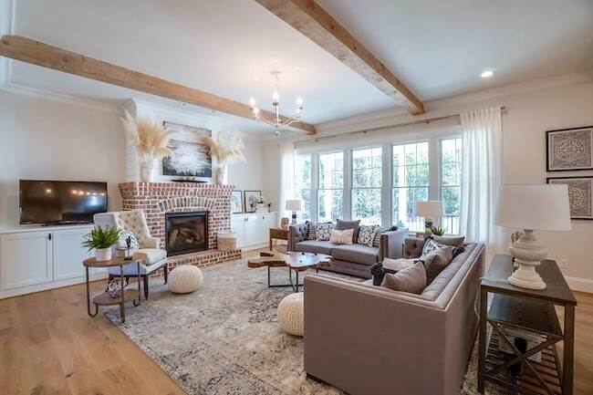 fireplace design ideas classic brick fireplace exposed wood beams traditional furniture