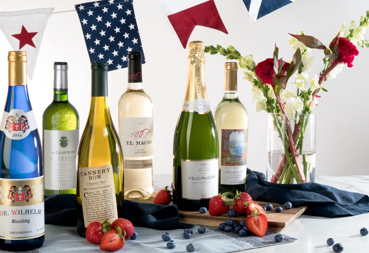Martha Stewart Wine wine with patriotic banner.