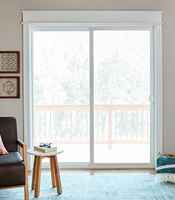 interior view of a sliding patio door with white trim