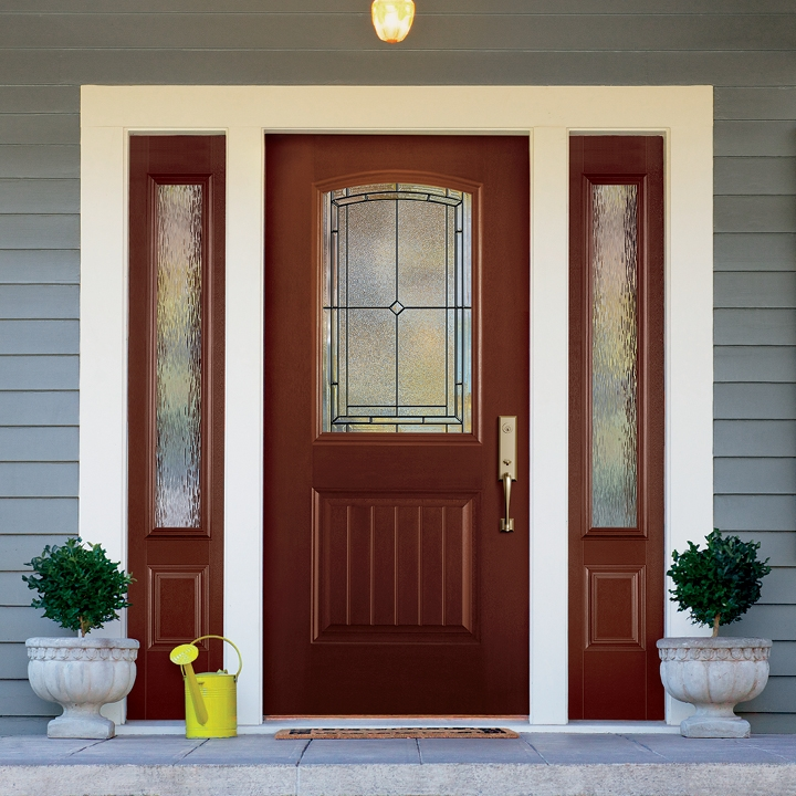 1/2 light entry door with 3/4 light sidelights on each side