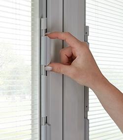 250 series vinyl sliding patio door with blinds between the glass