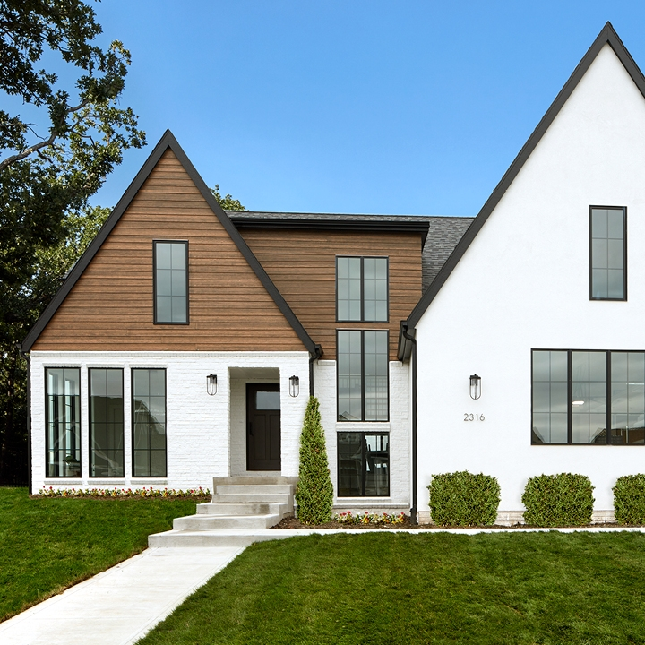exterior of a modern home with pella windows and doors