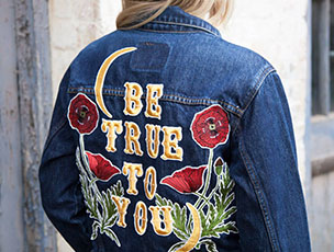 'Be True To You' Poppy Embroidered Denim Jacket