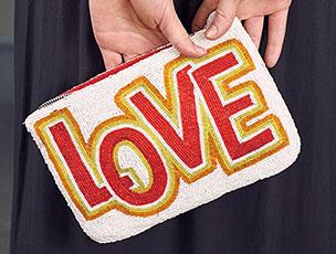 Hand Beaded 'Love' Purse