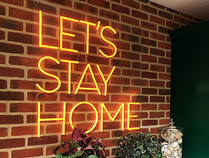Neon Warm White Let's Stay Home LED Light Decoration