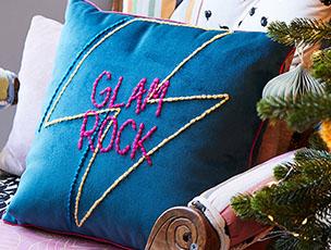 Glam Rock Embroidered Velvet Cushion