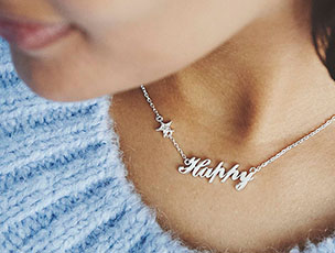 'Happy' Sterling Silver Necklace