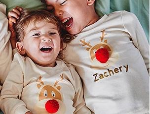 Siblings Christmas Pyjama Set With Reindeer Print
