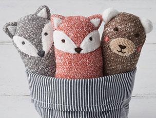 Set Of Three Woodland Animals Soft Knit Baby Rattles by Albetta
