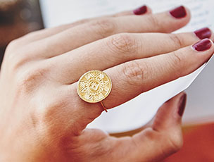 """I am Enough"" Gold Aztec Coin Ring"
