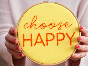 'Choose Happy' Embroidered Hoop Sign