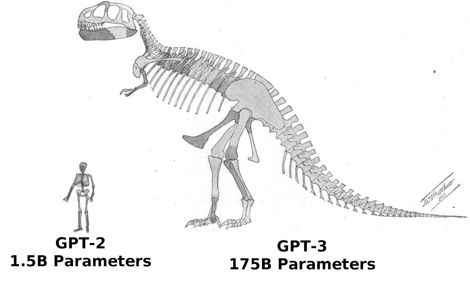Approximate size comparison of GPT-2