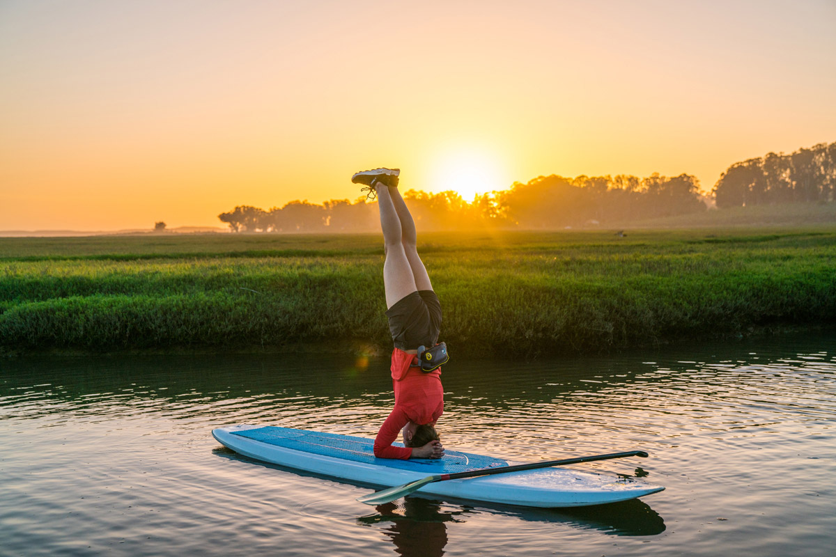 Yoga on a stand up paddleboard