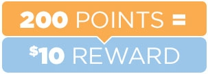 200 points is a $10 Reward