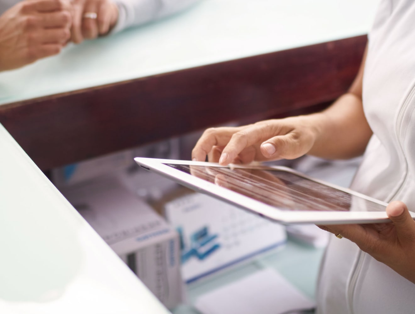 Person holding tablet