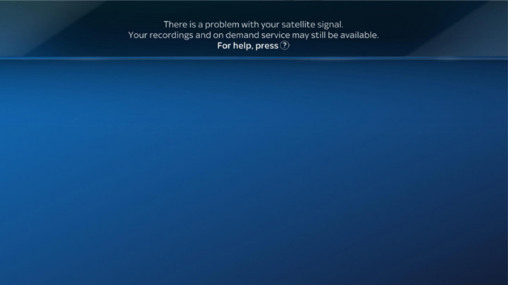 An image of an on screen message displaying No Satellite Signal