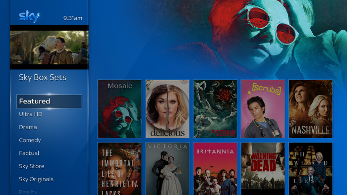 Sky Q Box Sets menu, Featured highlighted