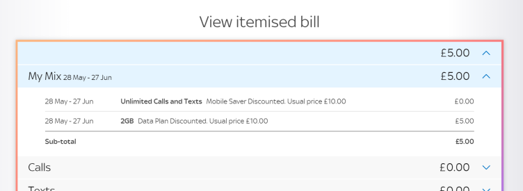 Example of Mobile bill with call saver and data plan discounts
