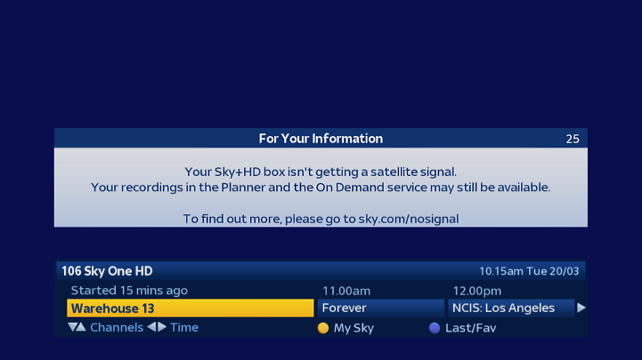 An image of a no satellite signal error message on a TV screen