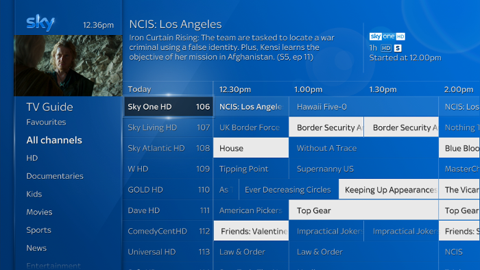 Sky Q TV Guide showing subtitled shows highlighted
