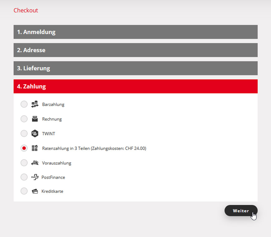 ad4619be6a166a 2. Beim Abschluss Ihrer Bestellung wählen Sie beim Schritt «Zahlungsart»  die Option «
