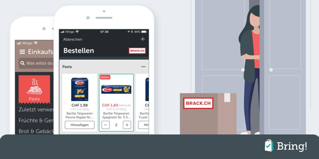 Kooperation von Bring! mit BRACK.CH: Artikel aus der Einkaufsliste direkt online bestellen