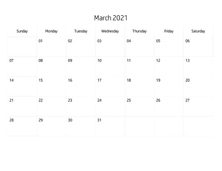Printables Blank Calendar March 2021 Hp Official Site