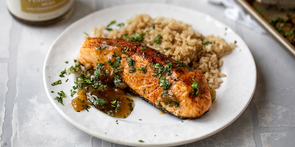 Grilled Salmon with Pineapple Relish