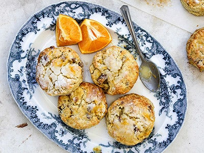 Orange Scones with a Sweet Maple Pecan Surprise!