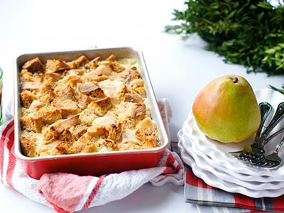 Pear Bread Pudding with Caramel Sauce