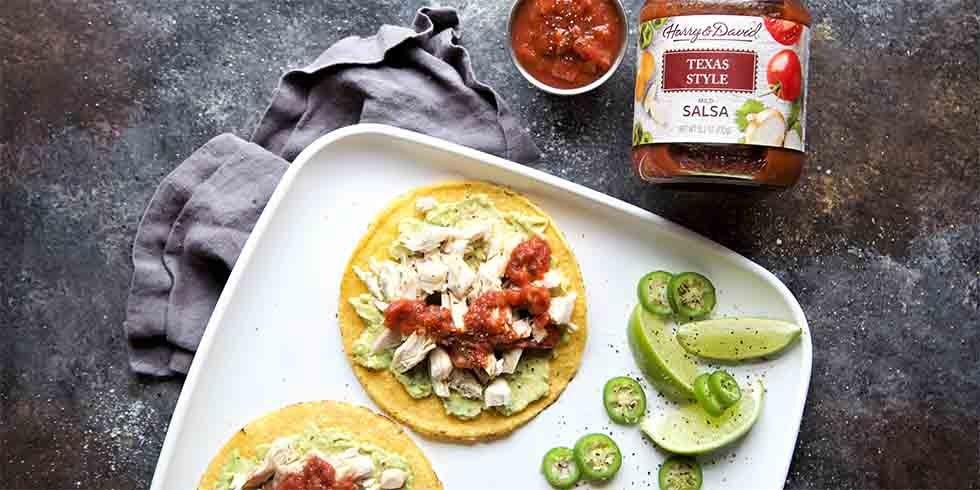 Avocado Chicken Tostadas with Texas Style Salsa