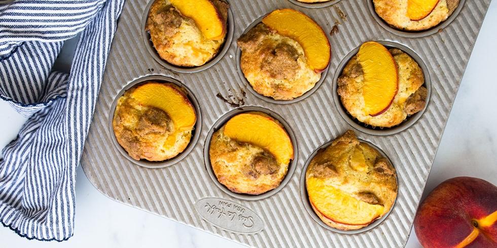 Peach Muffins with Cream Glaze