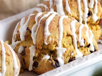 Pumpkin Scones with Bourbon Icing
