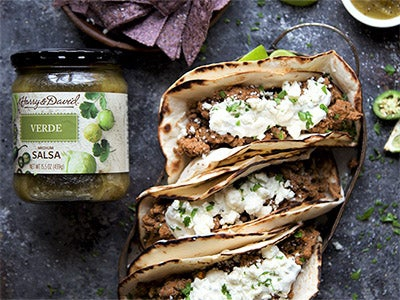 Easy Beef Tacos with Salsa Verde Topping