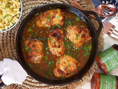 Skillet Chicken with Sweet Pepper and Onion Relish