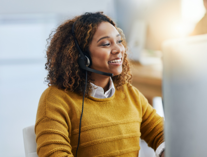 Customer service worker with headset on