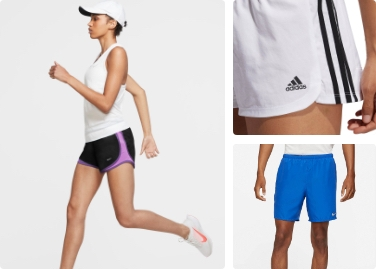 shorts for everybody, lady running, shop now