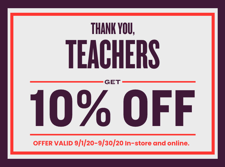 10% OFF discount to teachers
