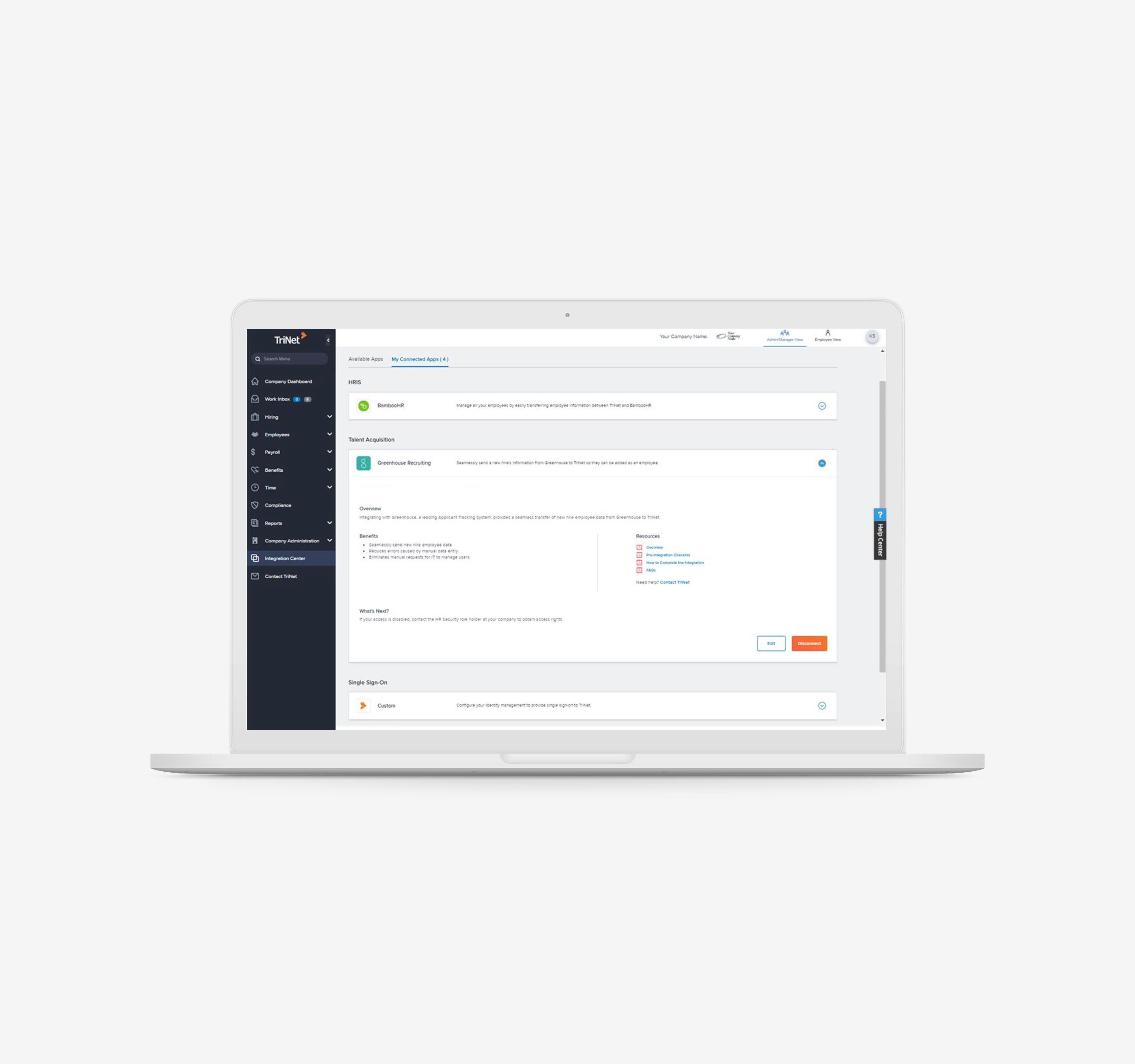 Manage user preferences, connect and disconnect applications within TriNet Integration Center