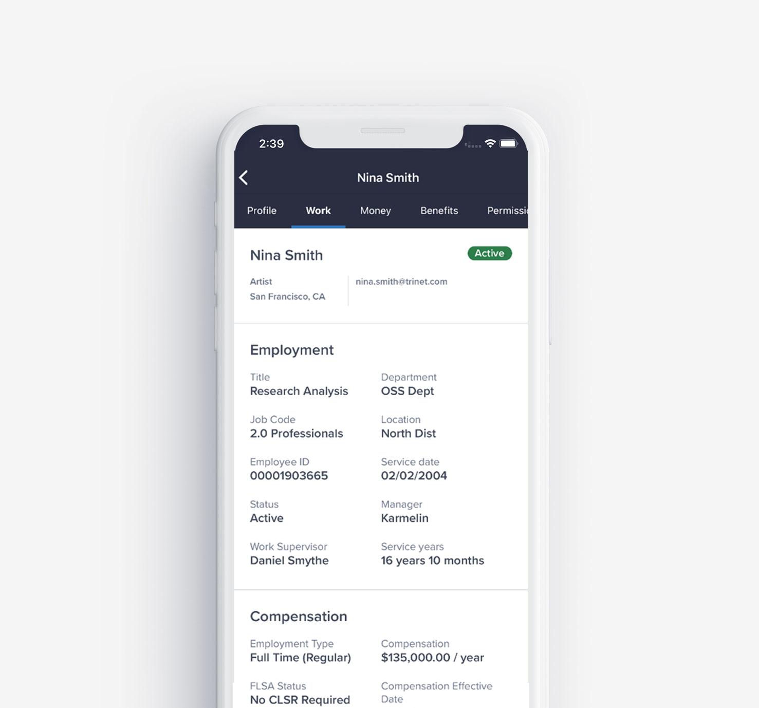 TriNet mobile app admin capabilities