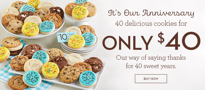 40th Anniversary Cookie Gift Box 40 Cookies for $40!