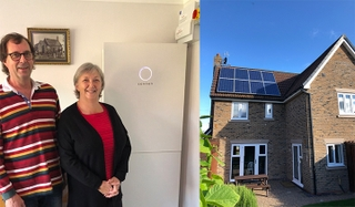 Left: Robert and Sally with their sonnenBatterie, which was installed in their living room; Right: The Barker's solar PV panels on the roof of their house in Sigglesthorne, Yorkshire.