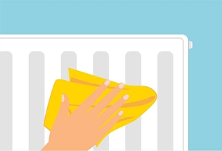 Illustration of hand wiping radiator dry with cloth