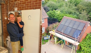 Left: Mike and his son with their new sonnenBatterie, which was installed in their garage; Right: The day of the Hominick family's solar PV installation.